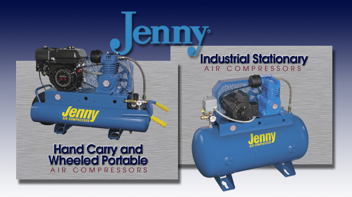 Jenny Hand Carry, Wheeled Portable, and Industrial Stationary Air Compressors
