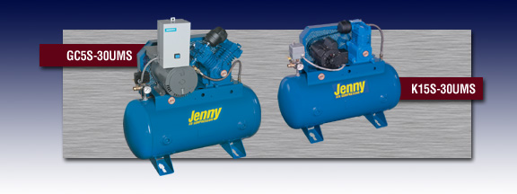 Jenny Fire Sprinkler Air Compressor - Models GC-5S-30UMS and K15S-30UMS